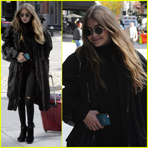 Gigi Hadid Bundles Up While Arriving Back in NYC