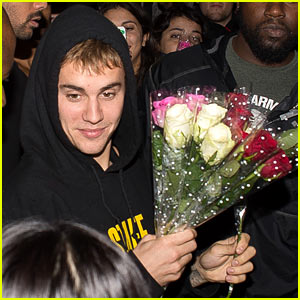 Justin Bieber Hands Out Flowers to Girls Waiting Outside a London Nightclub!