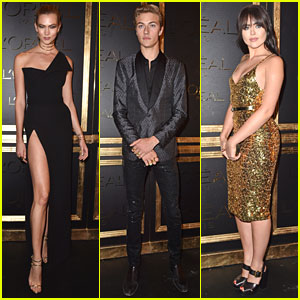 Karlie Kloss, Lucky Blue Smith, Kristina Bazan Step Out For Gold Obsession Party