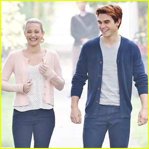 KJ Apa & Lili Reinhart Get Flirty On 'Riverdale' Set as Archie & Betty