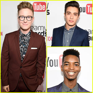 Tyler Oakley, Gabriel Conte, & Kingsley Suit Up for 2016 Streamy Awards!