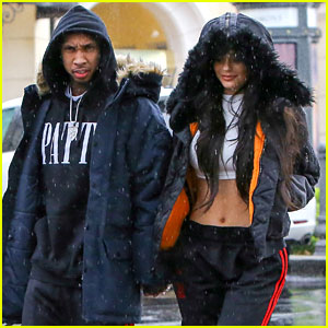 Kylie Jenner & Tyga Wear Matching Outfits in the Rain!