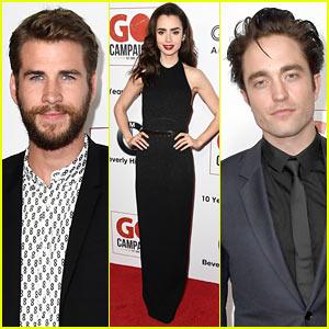 Liam Hemsworth, Robert Pattinson & Lily Collins Look Sharp at GO Campaign Gala