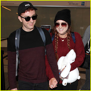 Meghan Trainor & Daryl Sabara Cuddle Up for Their Flight Out of LAX!