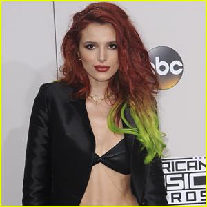 Bella Thorne Dip-Dyes Hair in Green & Purple!