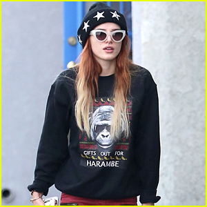 Bella Thorne Rocks Holiday Harambe Sweater For Lunch with Friends
