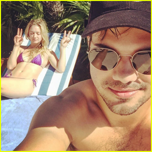 Billie Lourd & Taylor Lautner Jet to Cabo For The Weekend