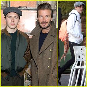 Brooklyn Beckham Attends Kent & Curwen Presentation With Dad David At London Fashion Week