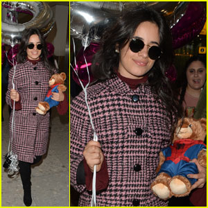 Camila Cabello Arrives in London With Teddy Bear & Balloons in Hand