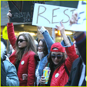 Gigi & Bella Hadid Carry Signs During Immigration Protest In New York City