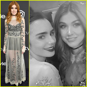 Katherine McNamara Meets Fellow 'Clary' Lily Collins at Golden Globes 2017 Party!