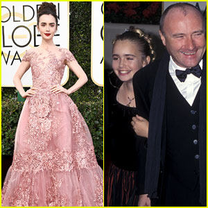 Lily Collins at the Golden Globes - Then and Now!