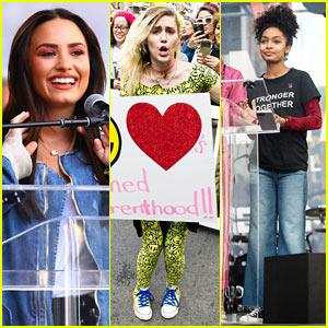 Demi Lovato, Miley Cyrus, & Yara Shahidi Make Their Voices Heard at Women's March