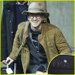 Tom Felton Labels His Luggage 'Mine' Just in Case