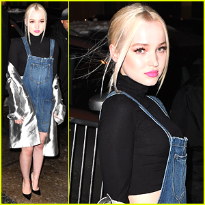 Dove Cameron Braves Cold in Overall Shorts For NYFW