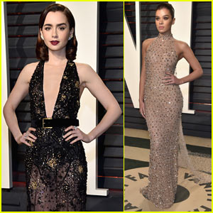 Lily Collins is Joined by Hailee Steinfeld at Vanity Fair Oscars Party