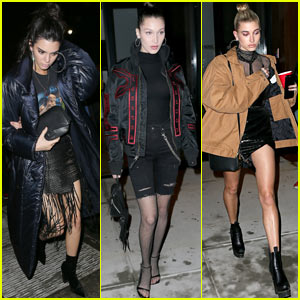 Kendall Jenner, Bella Hadid, & Hailey Baldwin Enjoy a Girls' Night Out in NYC