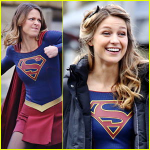 Melissa Benoist Fights a Monster While Filming New 'Supergirl' Scenes