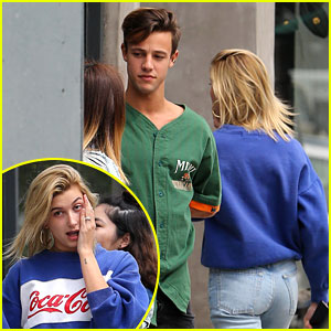 Cameron Dallas & Hailey Baldwin Grab Lunch Together, Greet Fans After!
