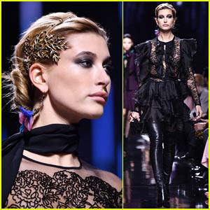 Hailey Baldwin Stuns in the 'Elie Saab' Paris Fashion Week Show!