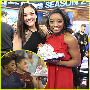 Laurie Hernandez Continues The Tradition & Brings Simone Biles Glitter Shoes on 'GMA'