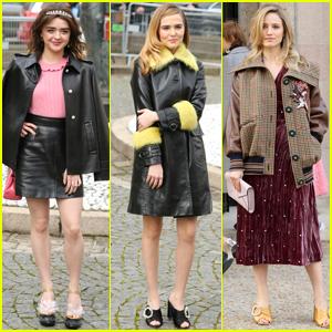 Maisie Williams, Zoey Deutch & Dianna Agron Get Chic For 'Miu Miu' Show