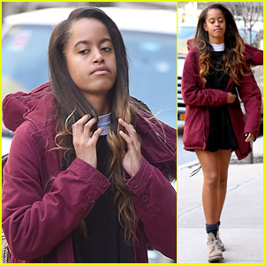 Malia Obama Heads to Her Internship in the Freezing Cold Weather