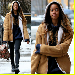 Malia Obama Bundles Up For the Commute to Work!