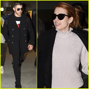 Nick Jonas & Emma Roberts Check Out the Paris Fashion Scene