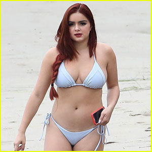 Ariel winter on beach in bahama