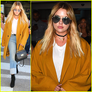 Ashley Benson Makes Stylish Arrival For Cannes Debut
