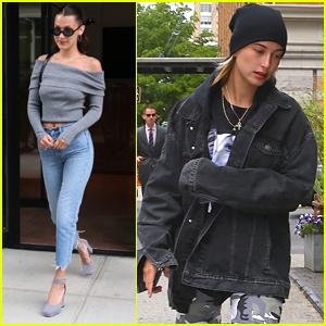 Bella Hadid Grabs Lunch with Hailey Baldwin in NYC