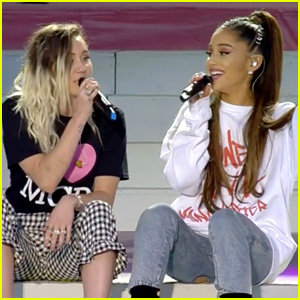 Ariana Grande Sings Don T Dream It S Over With Miley Cyrus At One Love Manchester Video Ariana Grande Miley Cyrus One Love Manchester Just Jared Jr