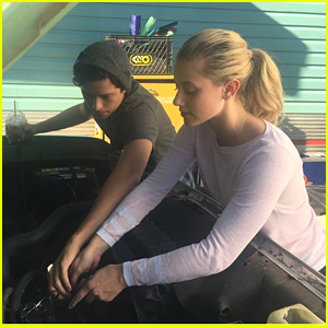 Cole Sprouse & Lili Reinhart Work on a Car Together in 'Riverdale' Season 2 BTS Pic