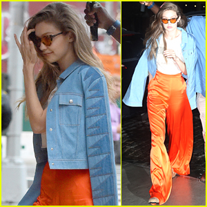 Gigi Hadid Goes Bold in Bright Orange Pants