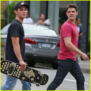 KJ Apa Looks Super Hot While Skateboarding to Lunch With Casey Cott