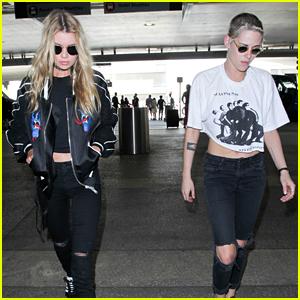 Kristen Stewart & Stella Maxwell Catch a Flight in Coordinating Outfits