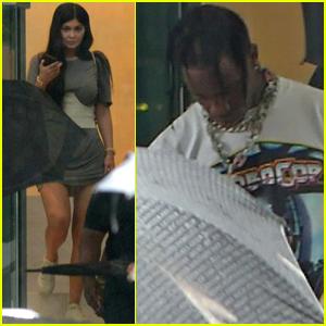 Kylie Jenner & Travis Scott Head to a Recording Studio in Miami