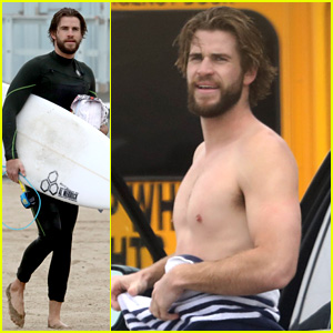 Liam Hemsworth Goes Shirtless After Surfing Alongside Dolphins!