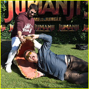 Nick Jonas & Jack Black Wrestle Alligator at 'Jumanji' Event