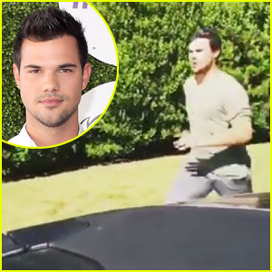 Taylor Lautner Performs Amazing Stunt with a Moving Car!