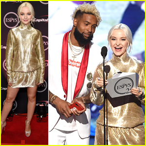 Dove Cameron Glitters in Gold at ESPYs 2017