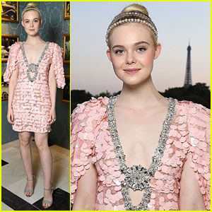 Elle Fanning Gets 'Branded' at Miu Miu Fashion Show