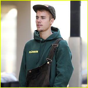 Justin Bieber Rocks Camo-Print Overalls in Australia