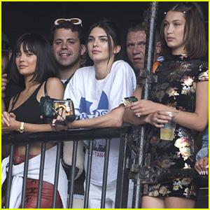 Kylie Jenner Watches Boyfriend Travis Scott Perform with Kendall & Bella Hadid
