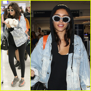 Madison Beer Travels With Stuffed Bunny To NYC