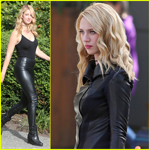 Yael Grobglas Suits Up as Villain Psi on 'Supergirl' Set with Melissa Benoist