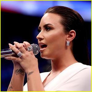 Demi Lovato Slays National Anthem, Looks White Hot at Big Fight!