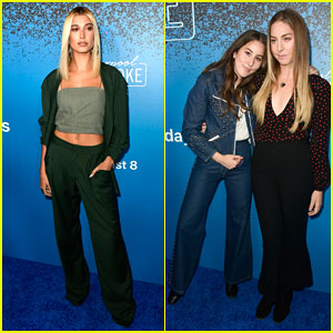 Hailey Baldwin & Haim Sisters Step Out In Style for 'Carpool Karaoke: The Series' Launch!