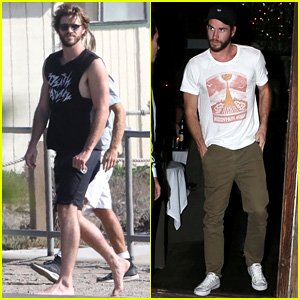 Liam Hemsworth Flaunts His Bulging Biceps in a Tank Top at the Beach